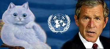 Waincat, Chom's UN representative, sits in silent judgement of President Bush.